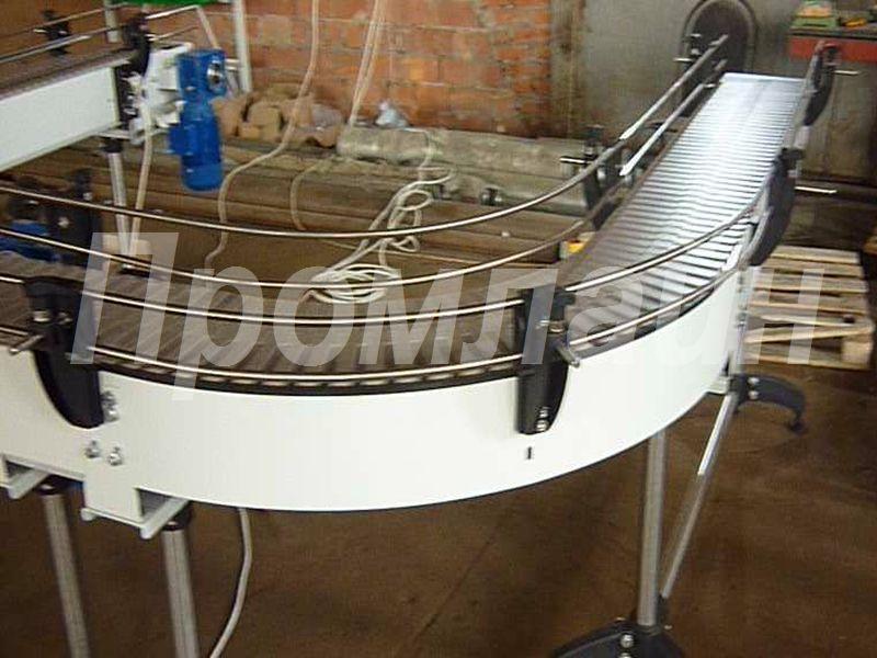Конвейер пластинчатый поворотный для коробов